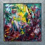 Bollenveld (inc zinken lijst) 100 x 100 cm (Verkocht)