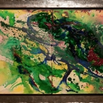 Paddestoel (inc loden lijst) 50 x 80 cm (Verkocht)